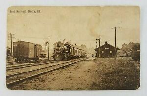 Postcard Railroad Train Arriving at Station in Buda Illinois