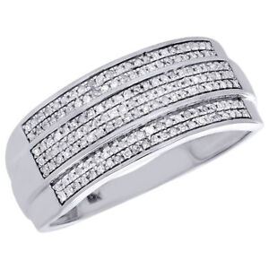 Wedding Bands For Men With Diamonds | Diamond Wedding Band Men S 10k White Gold 3 Row Round Cut Pave Ring