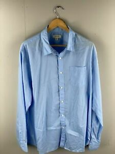 Country-Road-Men-s-Collared-Long-Sleeve-Cotton-Summer-Shirt-Size-XXL-Blue