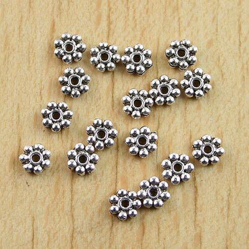 250Pcs dark silver-tone daisy spacer beads h0753