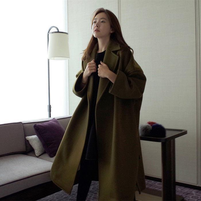 Lapel Lapel Lapel Loose Wool blend Outwear Winter Warm Parka Long Retro Women oversize Coat 403101