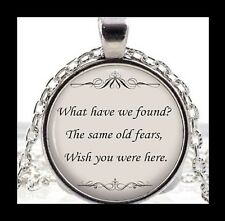 """NEW - PINK FLOYD MUSIC LYRICS """"WISH YOU WERE HERE"""" GLASS PENDANT NECKLACE"""
