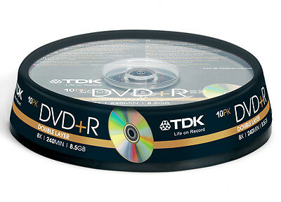 100x TDK empty DVD+R DL Double Dual Layer CakeBox 8.5 240mins 8.5GB lot blank
