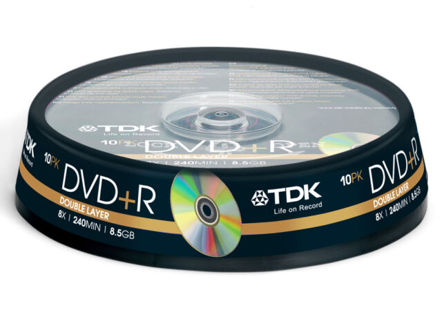 80x TDK empty DVD+R DL Double Dual Layer CakeBox 8.5 240mins 8.5GB lot blank