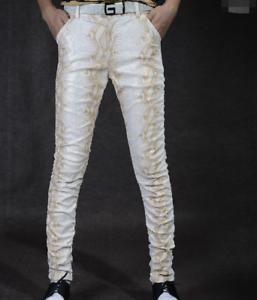 Men Slim Fit Printing Nightclub Punk Motorcycle Casual Pants PU Leather Vogue