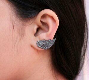 Genuine Pave Diamond Angel Wings Ear Cuff 925 Silver Ear Jacket Stud Earring