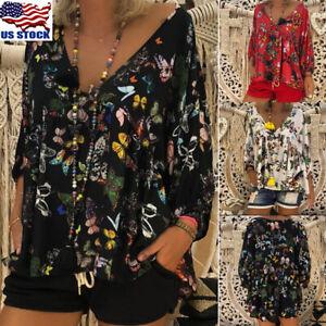 Plus-Size-Womens-Floral-Print-V-Neck-Long-Sleeve-Tops-Blouse-Summer-Boho-T-Shirt