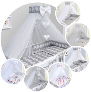 BABY-BEDDING-SET-COT-COTBED-3-6-10-14-Pieces-PILLOW-DUVET-COVER-BUMPER-CANOPY