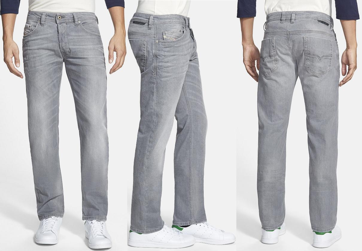 NWT  Diesel Modern Slim Straight-leg Light-Stretch Grey Jeans Size 30X32