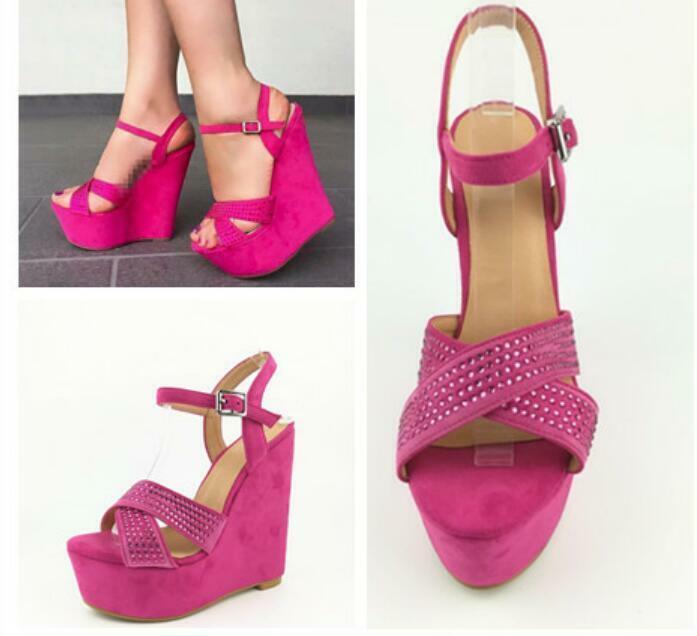 donna High Wedge Heels Sandals Slingbacks Suede Rhinestones Ankle Strap scarpe