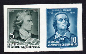 East Germany 2 Imperf Stamps Ex Min Sheet c1955 Mint Never Hinged (8605)