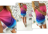 Womens Summer Gradient Mix-colors Casual Short Sleeve T-shirt Tops Ladies Blouse