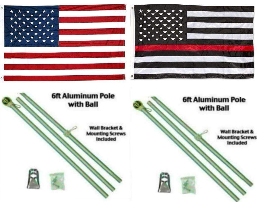 3x5 USA & Dünn Rote Linie Bestickt Nylon Flagge Aluminium Stange Set Kugel
