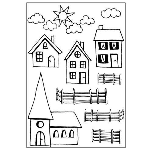 "Kirche Zaun Sonne Wolken Clear Stamps /""Dorf 1/"" A7 transparent efco Haus"