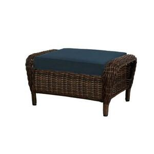 Details About Hampton Bay Outdoor Ottoman Cambridge Brown Blue Cushions Porch Patio Furniture