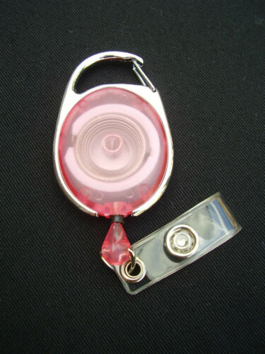 Pink Retractable Belt Clip Reel For Security//SIA//PCSO ID Pass Card//Badge Holders