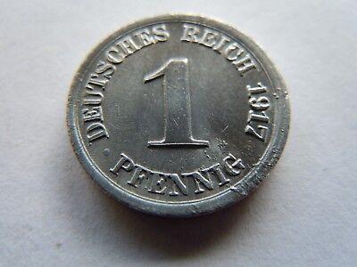 100% Wahr Kaiserreich 1 Pfennig 1917 F Stuttgart Unter Kaiser Wilhelm Ii. Ausgezeichnete (In) QualitäT