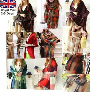 Ladies-Women-Winter-Warm-Tartan-Check-Neck-Shawl-Scarf-Wrap-Stole-Plaid