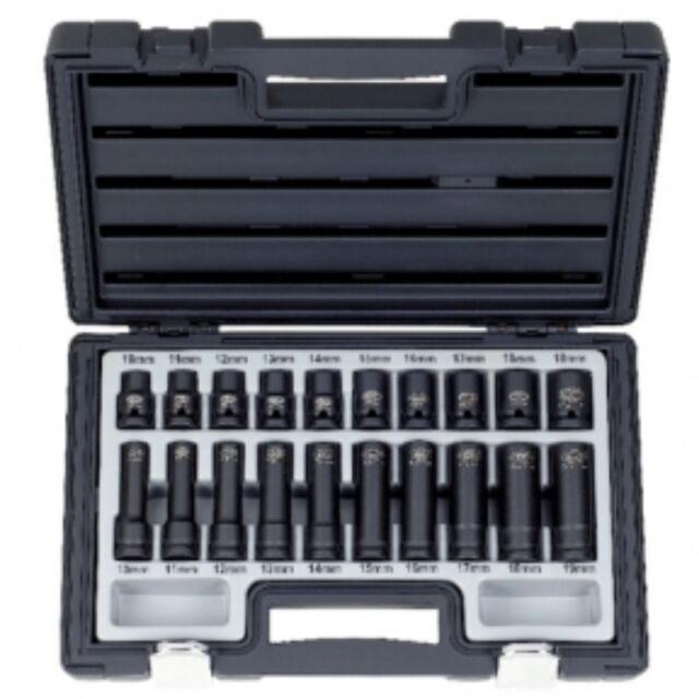 "Schlagschrauber-Nusssatz 1/2"" 2x SW 10-19mm 20tlg. kurz + lang incl. Box"