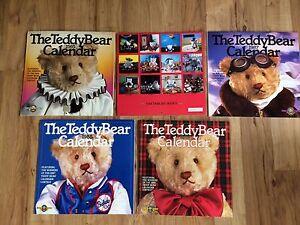 Set-Of-5-1985-1987-1988-1989-The-Teddy-Bear-Calendars-Nice