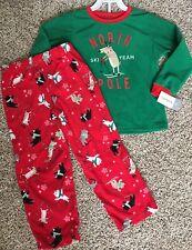 Carter's 2 Pc Pajamas Boys Size 5 Sleepwear Christmas Reindeer Skiing NEW Fleece