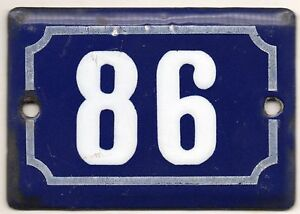 Cute-old-blue-French-house-number-86-door-gate-plate-plaque-enamel-metal-sign