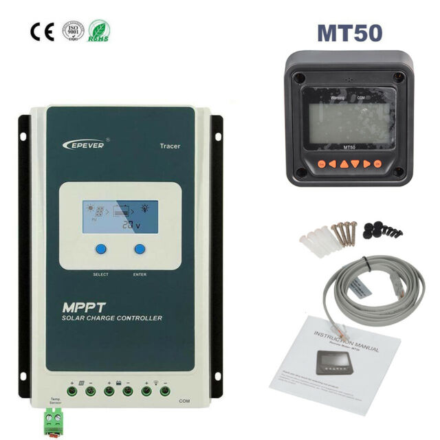 EPEVER 40A 30A 20A MPPT Solar Charge Controller LCD 12/24V Negative  Ground+MT50