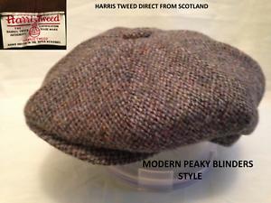 SCOTTISH HARRIS TWEED NAVY BLUE MODERN STYLE PEAKY BLINDERS NEWSBOY CABBY CAP