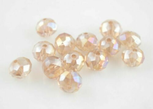 Wholesale 50Pcs 8x6mm Faceted Glass Crystal Loose Beads Spacer Rondelle Bead