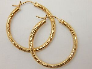 14k-Yellow-Gold-Hammered-Hollow-Hoop-Earrings-Light