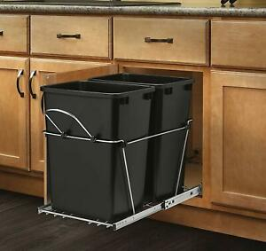 Details about Pull Out Trash Garbage Can Waste Container Kitchen Cabinet  Organizer 35 Quart