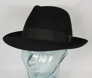 Classic Vintage Borsalino Qualita Extra Superiore Fur Felt Fedora Blue Grey 58