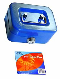 "6"" inch Small Key Lock Petty Cash Piggy Bank Money Box Safe Pink Lockable Blue"