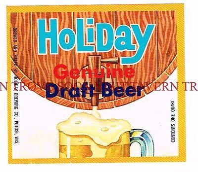 Unused 1960s Huber Bock QUART Monroe Beer Label Tavern Trove Wisconsin
