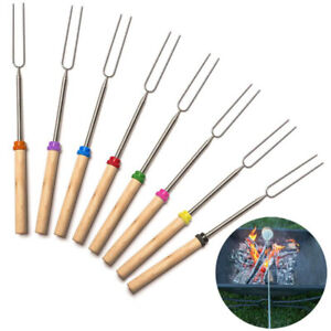Telescoping BBQ Marshmallow Roasting Sticks Smores Skewers Hot Dog Fork 8PCS