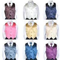 9 Color Teen Children Toddler SATIN VEST & TIE SET for Boy's Suit Tuxedo Sz S-20