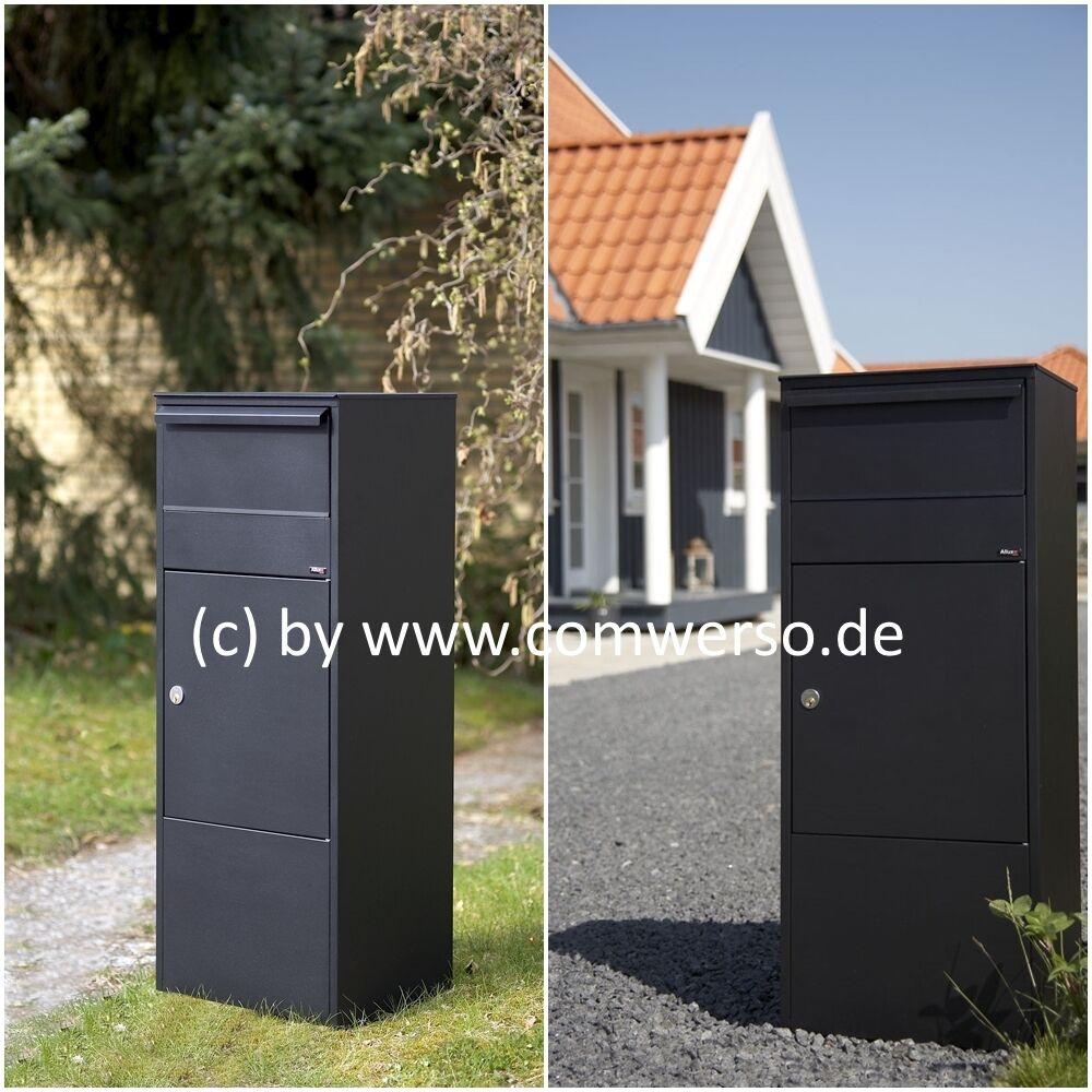 Allux 800 Paketbriefkasten in schwarz, mit Montagefuß verzinkt, Entnahme vorne