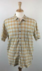 Mens-Patagonia-Organic-Cotton-Short-Sleeve-Button-Up-Hiking-Large-Yellow-Brown