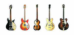 The beatles guitars greeting card dl size ebay image is loading the beatles guitars greeting card dl size m4hsunfo