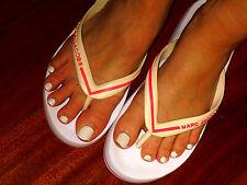 Designer MARC JACOBS white with pink slip on flip flops euc sz 6-6.5M
