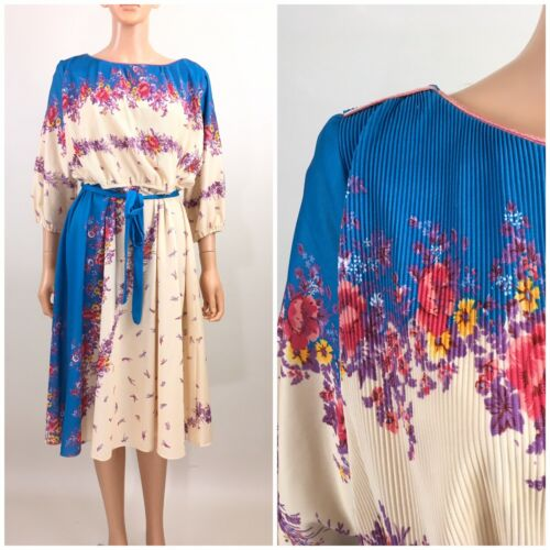 Vintage 80s 90s Dress Blouson Midi Belt Floral Dis