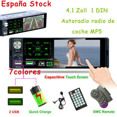 1DIN Autoradio radio de coche MP5 bluetooth manos libres 7 farbe car RDS USB SD
