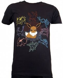 cc804c3f NEW Pokemon Mono Eeveelutions Eevee Adult Men Black T-shirt DF686901 ...