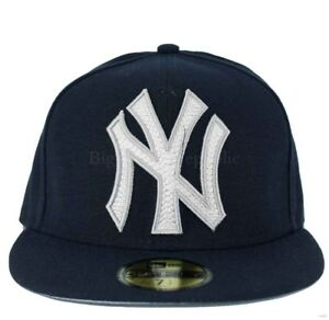 New Era MLB 59Fifty Mighty Stitch NY new York Yankees Fitted ... bde17e378f3
