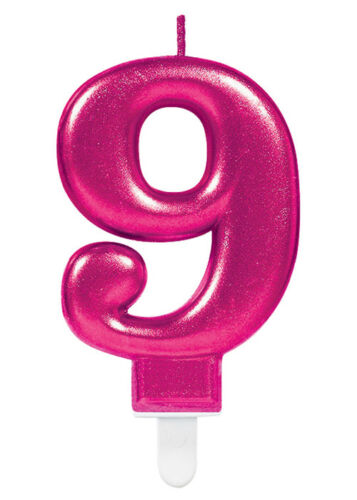 Pink Number 9 Birthday Cake Candle