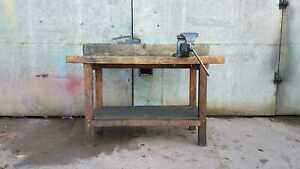 Used-Wooden-Workshop-Bench-With-Vice