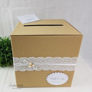 Briefbox Vintage M Spitze Natur Personalisiert Geldgeschenke