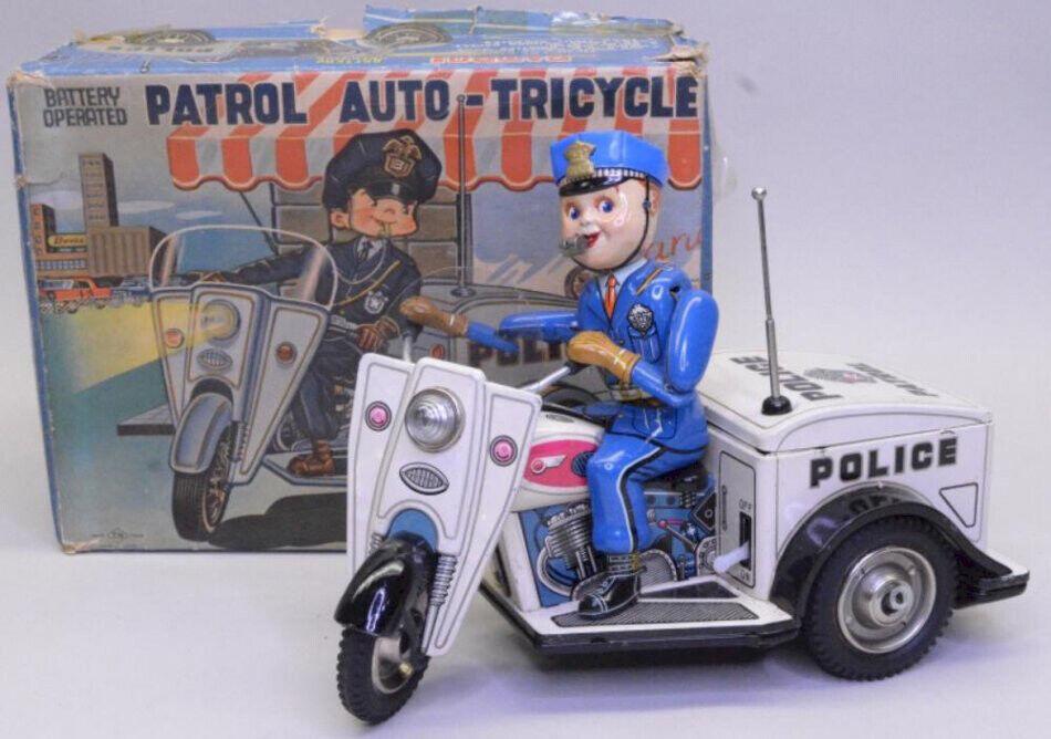 Nomura Vintage Juguete de estaño patrulla Auto-Triciclo Motocicleta Con Caja