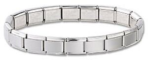 18-Links-Starter-Italian-Charm-Bracelet-Matte-Stainless-Steel-3-Free-Links-New