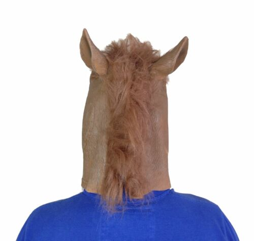 BROWN HORSE HEAD MASK FULL HEAD LATEX FANCY DRESS STAG PARTY ANIMAL ACCESSORY